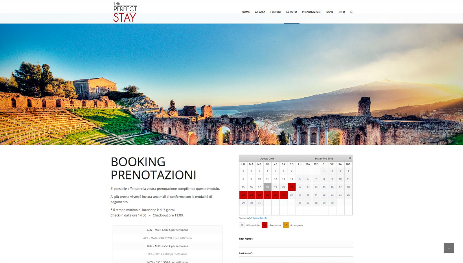 The Perfect Stay website
