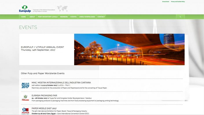 Europulp Events Page Baldanello e Ilari web-design