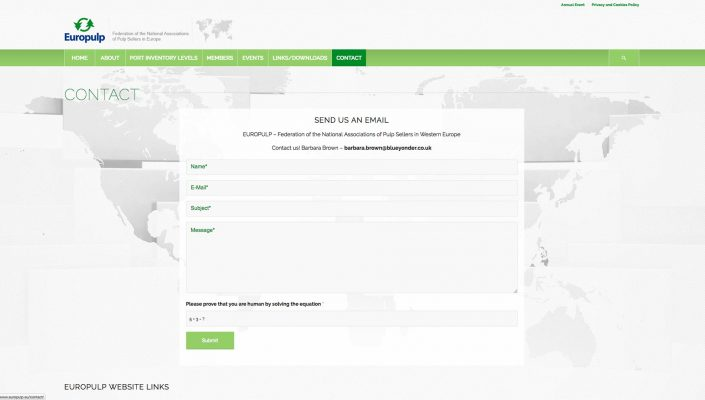Europulp Contact Page Baldanello e Ilari web-design