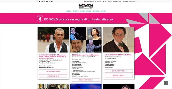 Homepage Teatro Carcano, sito web di Baldanello e Ilari