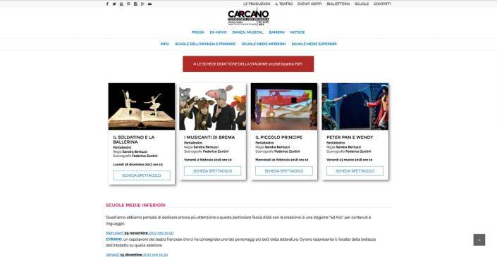 Sezione Carcano Scuole Teatro Carcano, sito web di Baldanello e Ilari