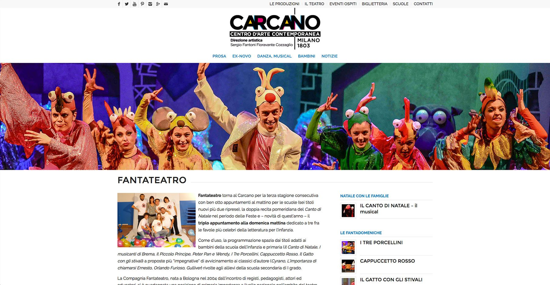 Sezione Fantateatro presso Teatro Carcano, sito web di Baldanello e Ilari