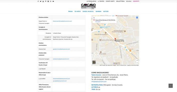 Pagina Contatti Teatro Carcano, sito web di Baldanello e Ilari