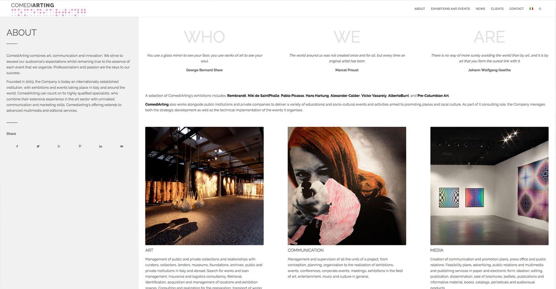 Sito web dal forte impatto visivo per ComediArting che realizza e sviluppa eventi e progetti artistici in tutto il mondo.