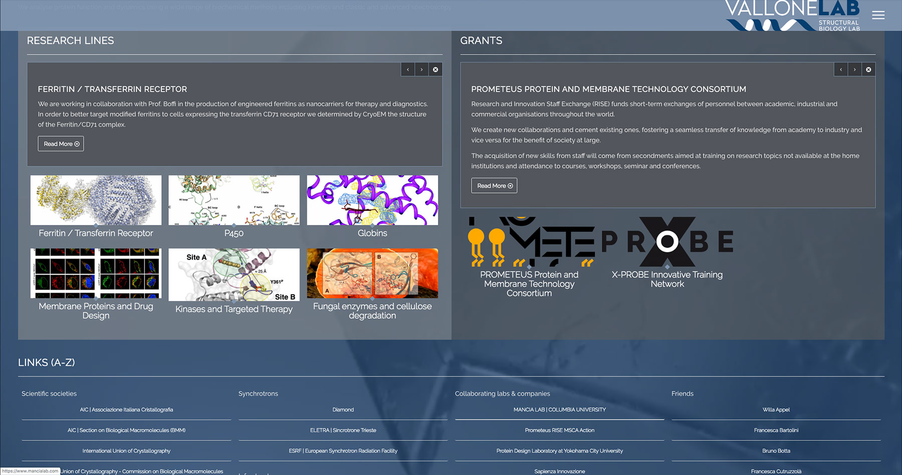 Website screenshot of vallonelab.it Structural Biology Lab at Department of Biochemical Sciences Sapienza University of Rome